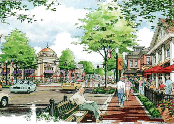 Artist Rendering of Maple and Main Street Intersection from 2012 Masterplan