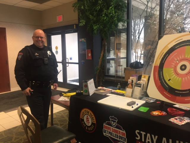 Officer P. Taylor participating at Walsh University Health Fair along with Stark County Sheriff's Department Safe Communities organization
