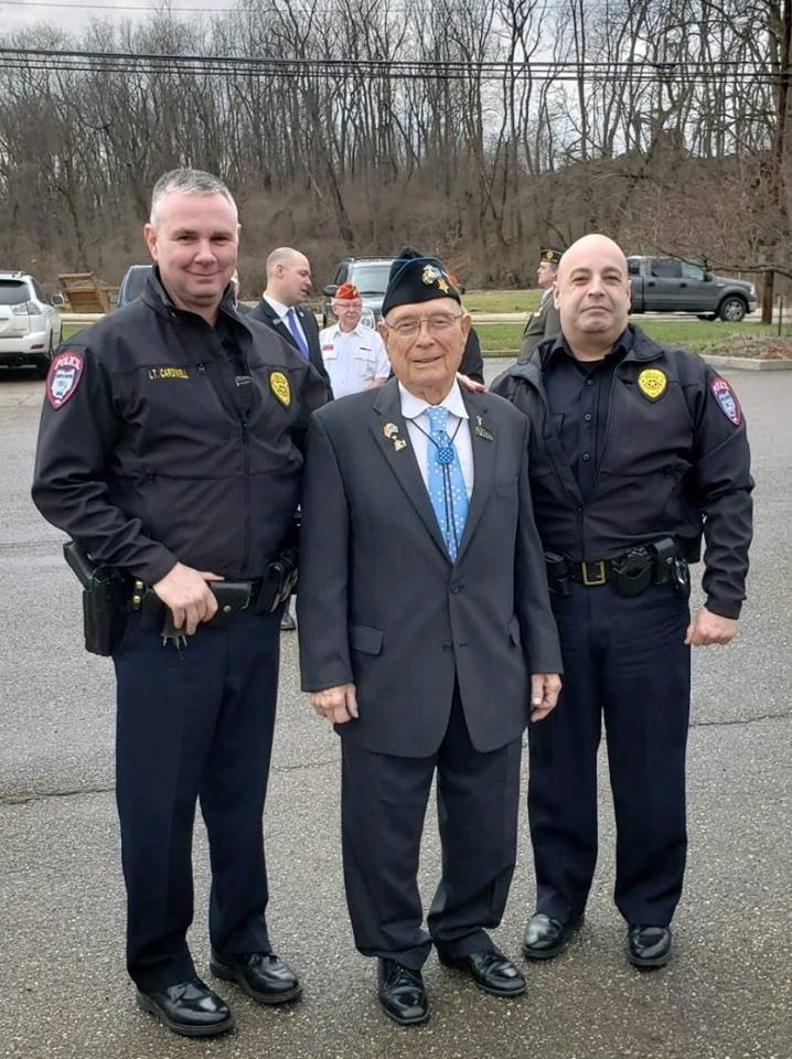 Lt Doug Cardwell and Chief John Minock with Medal of Honor recipient Hershel Woody Williams at the groundbreaking ceremony for the Gold Star Family Monument at Price Park